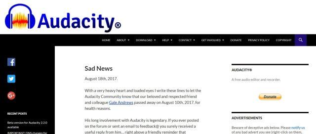 フリーソフト「Audacity」ダウンロードページへアクセス